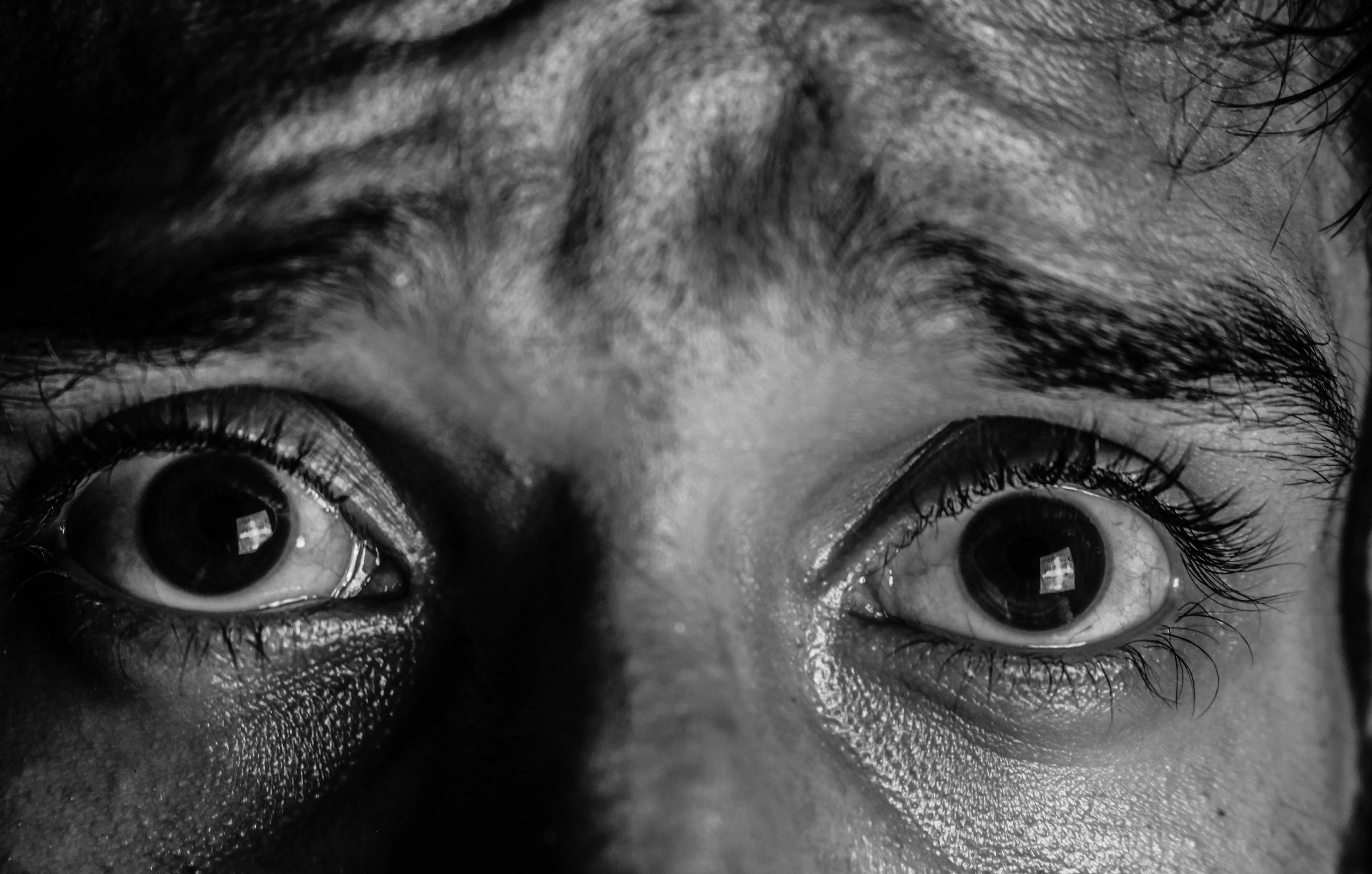 przerażone oczy